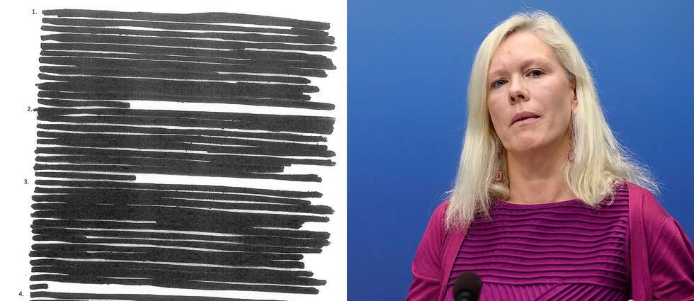 De maskade utskrifterna av e-post från Sveriges Kinaambassadör Anna Lindstedt.