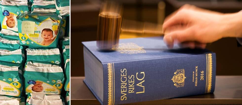 En bildsplit mellan blöjpaket och en blå lagbok.