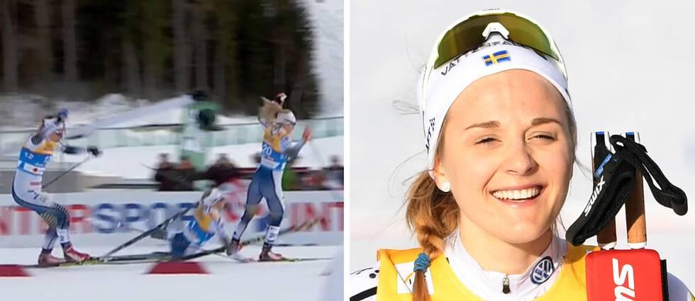 En vurpa stoppade samtliga tre svenskor att slåss om VM-guldet, som norskan Maiken Caspersen Falla vann. Stina Nilsson (höger) tog silver.