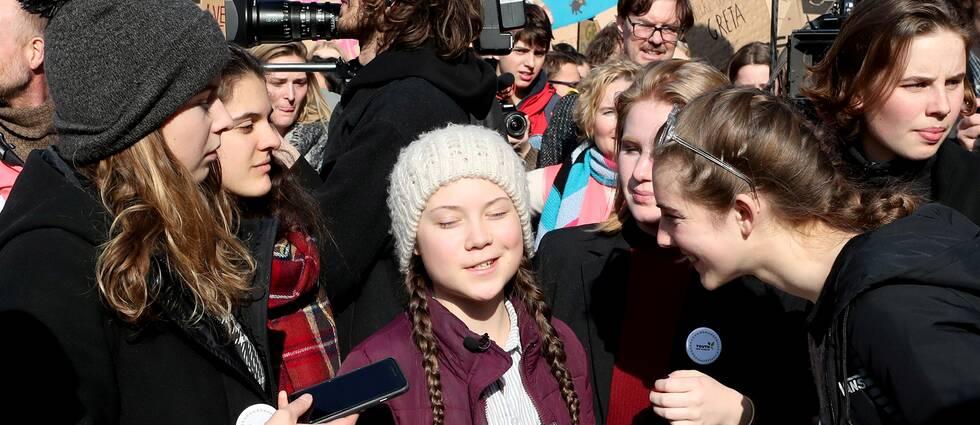 Greta Thunberg och belgiska klimataktivister deltog under torsdagen i en demonstration i Bryssel.