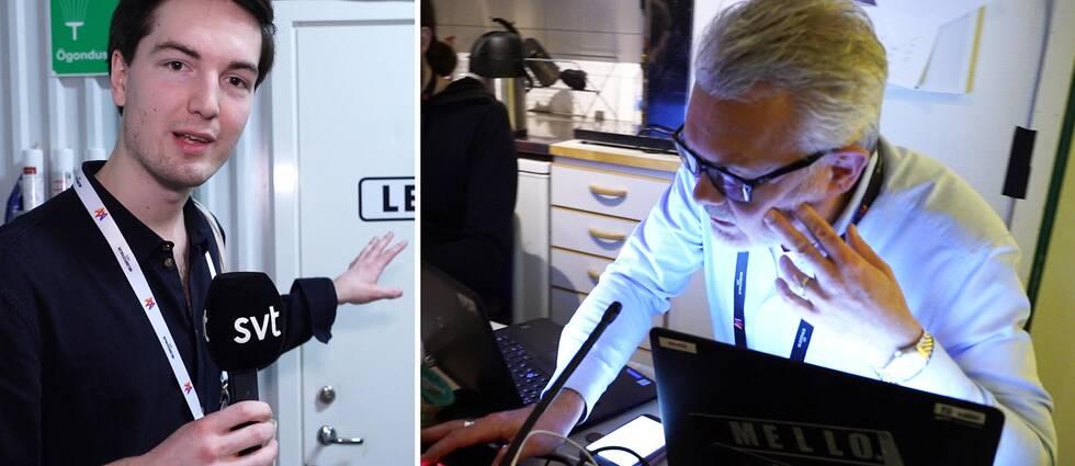 Torbjörn Averås Skorup står utanför röstningsrummet med en mikrofon i handen. Röstansvariga Sven-Olof Jensen pratar i en mikrofon.