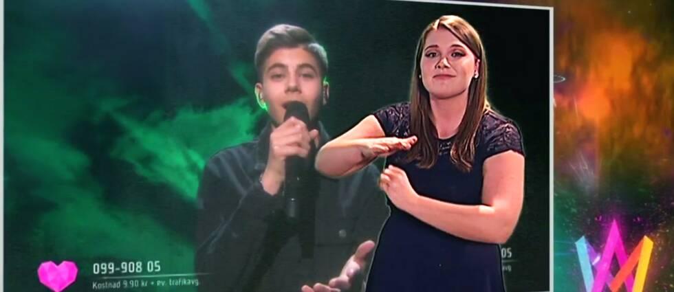 Teckenspråksartisten Jade Osbeck gestaltar Bisharas nummer i Melodifestivalen 2019.