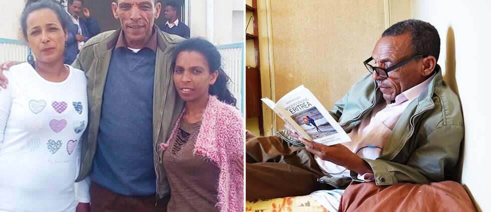Addis Alem Hagdu tillsammans med sina döttrar Danait och Azmera. Addis läser om Eritrea i en bok.