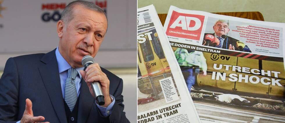 Turkiets president Recept Tayyip Erdogan. Till vänster: Framsidan av tisdagens tidningsupplagor.