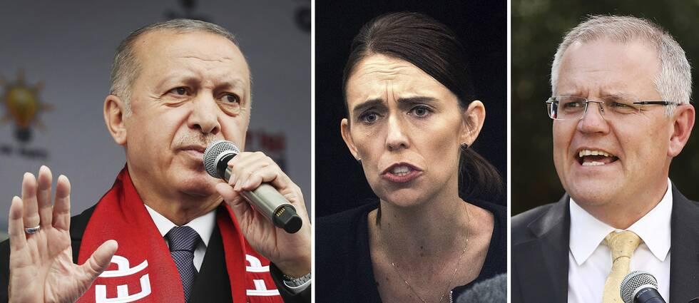 Uttalandet från Turkiets president Erodgan (till vänster) har fått Nya Zeelands och Australiens premiärministrar, Jacinda Ardern och Scott Morrison, att reagera starkt