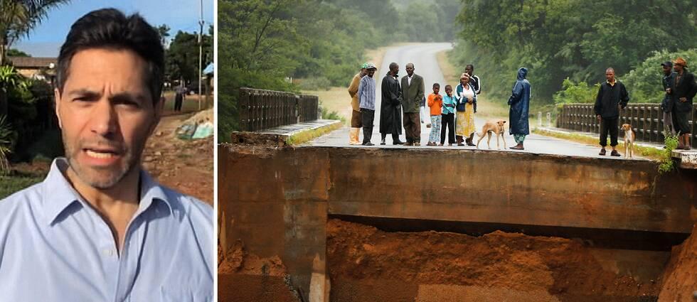 SVT:s Samir Abu Eid är på plats i Zimbabwe och rapporterar om hur det svåra ovädret slagit hårt mot landets infrastruktur