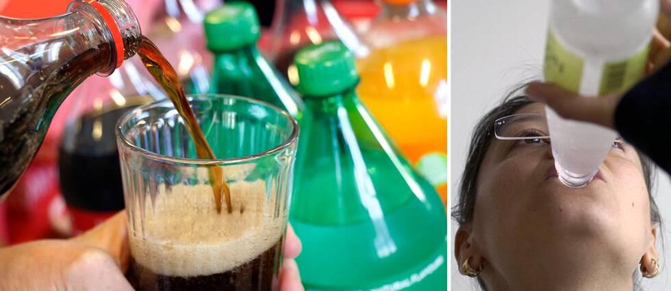 Coca-cola hälls upp i ett glas, kvinna dricker ur en flaska.