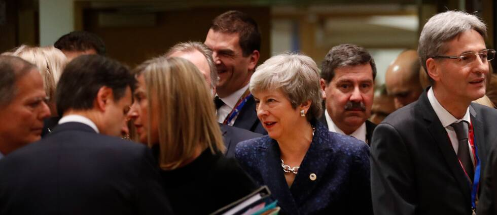 Storbritanniens premiärminister Theresa May under EU-toppmötet i Bryssel.