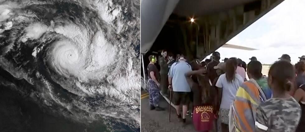 Satellitbild på orkanen Trevor på bild till vänster och människor som evakueras till höger.