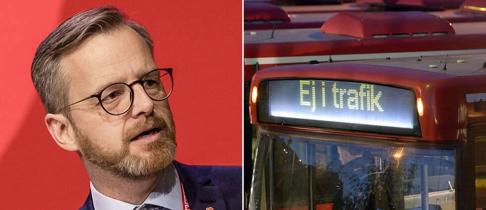 Inrikesminister Mikael Damberg och bussar