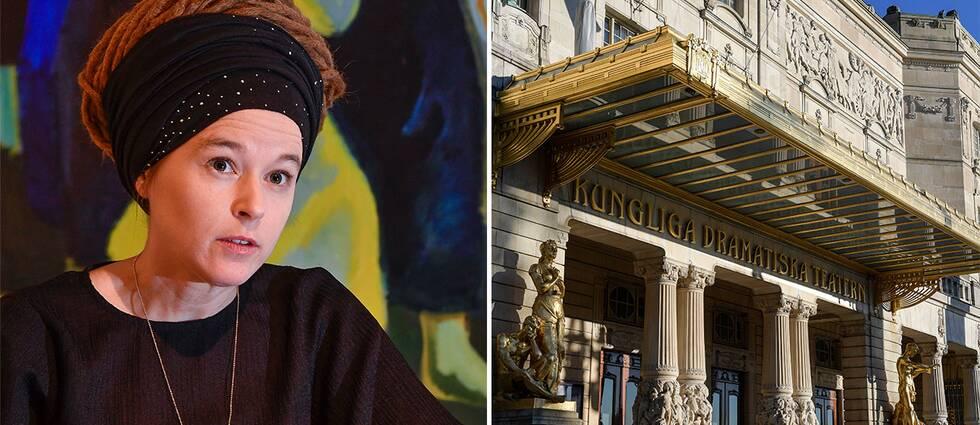 Kulturminister Amanda Lind och Dramatens fasad.