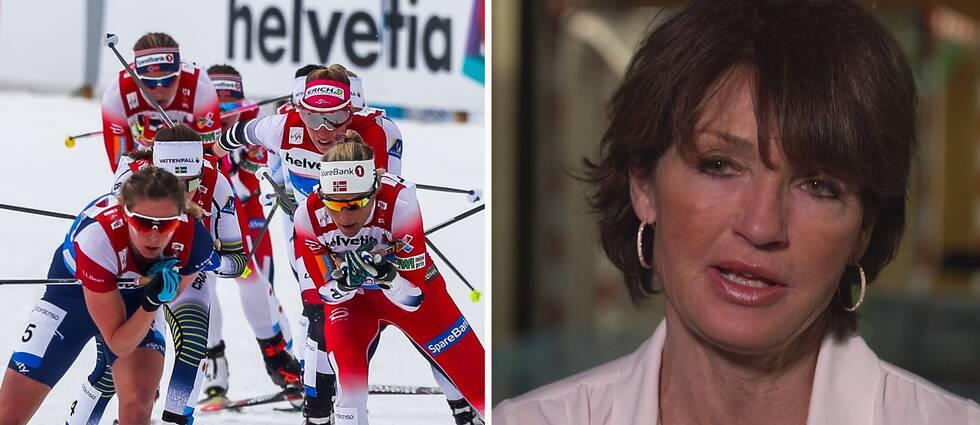 """Professorn Jorunn Sundgot-Borgen slår larm: Vikthetsen i längdskidåkning värre än någonsin. """"Om vi ska komma vidare så måste vi se på ätstörningar som en idrottsskada"""", säger hon till SVT Sport."""