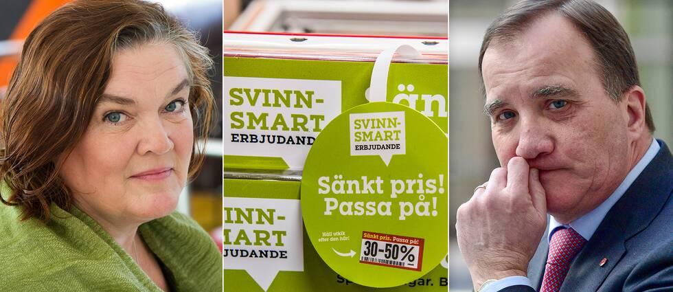 Författaren Maja Hagerman, matsvinnserbjudande och statsminister Stefan Löfven (S).