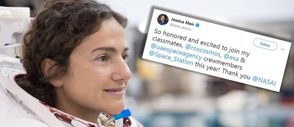 Bild på astronauten Jessica Meir och inflikat inlägg från Twitter