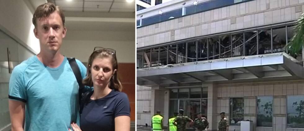 Patrik Alm och Anna Kalm efter att de precis kommit hem från hotellet i Sri Lanka. De hade precis ätit frukost på hotellet – då bombmännen kom på söndagsmorgonen.