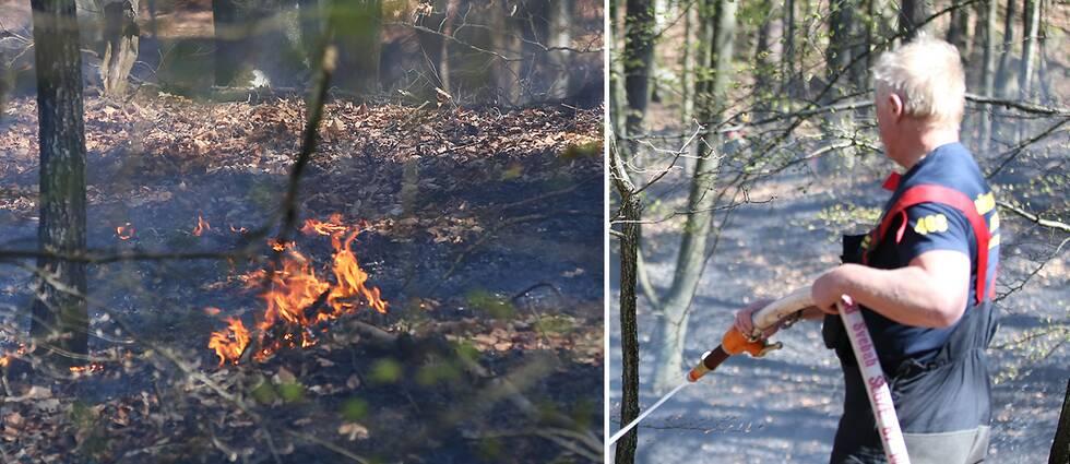 Räddningstjänsten som bekämpar en skogsbrand i Bökestad i östra Skåne under påskannandagen.