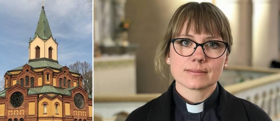 Sävare kyrka exteriör i sol och Judith Fagrell, kyrkoherde i Sävare församling.