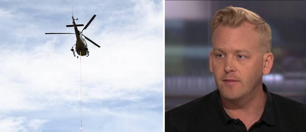 Brandhelikopter och Jakob Wernerman, enhetschef på MSB.