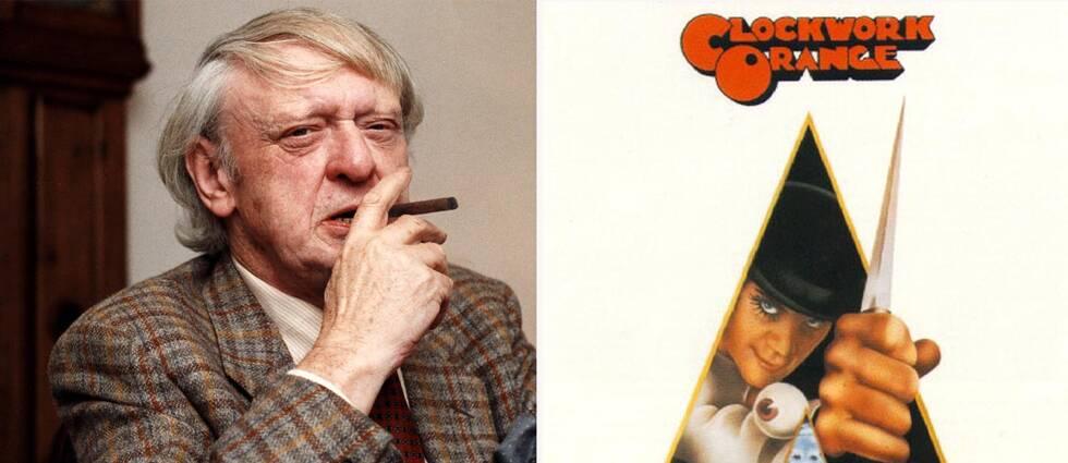 Författaren Anthony Burgess och filmaffischen för Stanley Kubricks film från 1971.