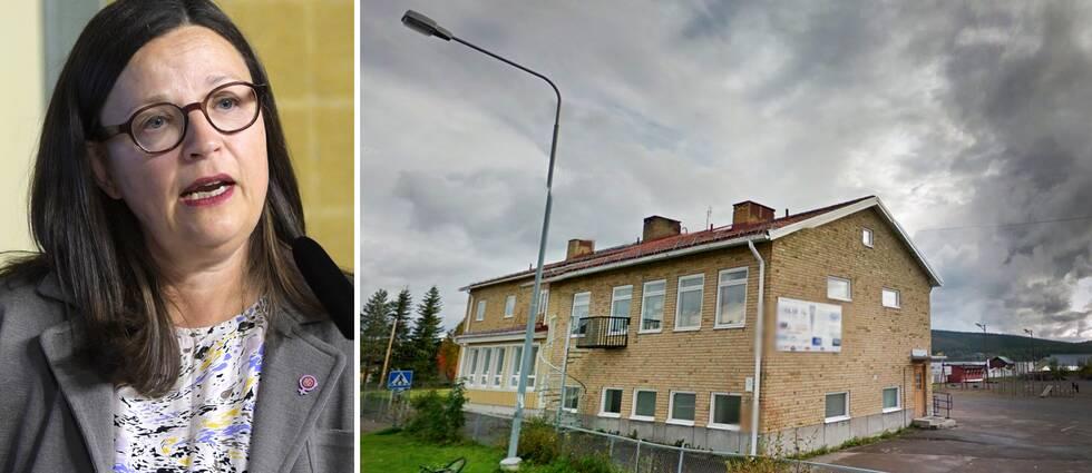 Utbildningsminister Anna Ekström (S) bredvid skolan i Jukkasjärvi