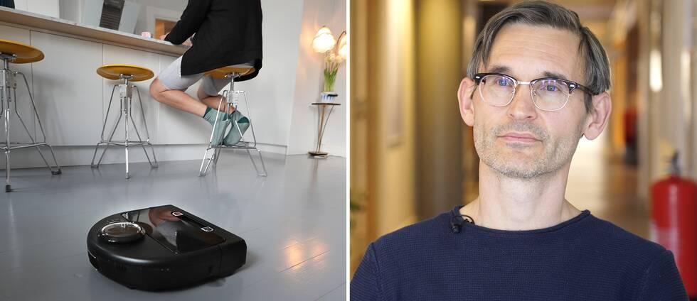 Robotdammsugare och Pontus Johnson, professor på KTH