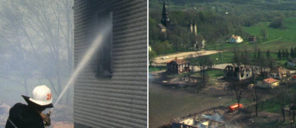 Flygbild över Varnhem 1979 med många nedbrända byggnader och brandman som bekämpar elden