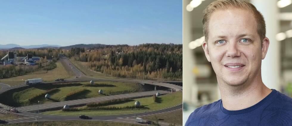 Flygbild över Lillängerondellen i Östersund och en bild på Johan Gerdevåg, marknadschef på Biltema