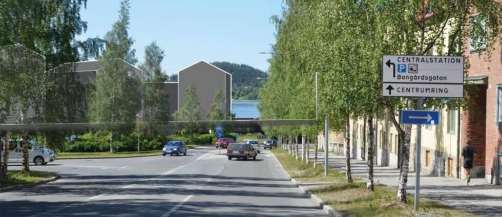 Vybild längs Gränsgatan i Östersund med föreslagna byggnader inritade längst ner.
