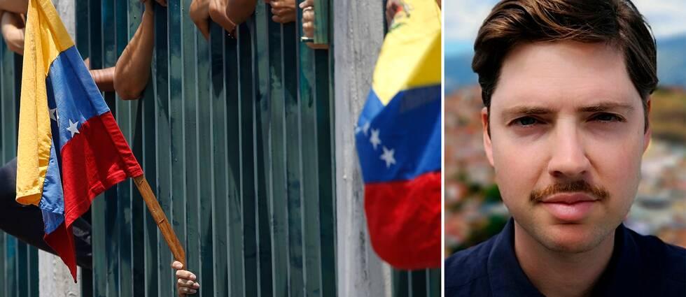 Venezuelas flagga sticker ut bland galler. SVT:s utsände