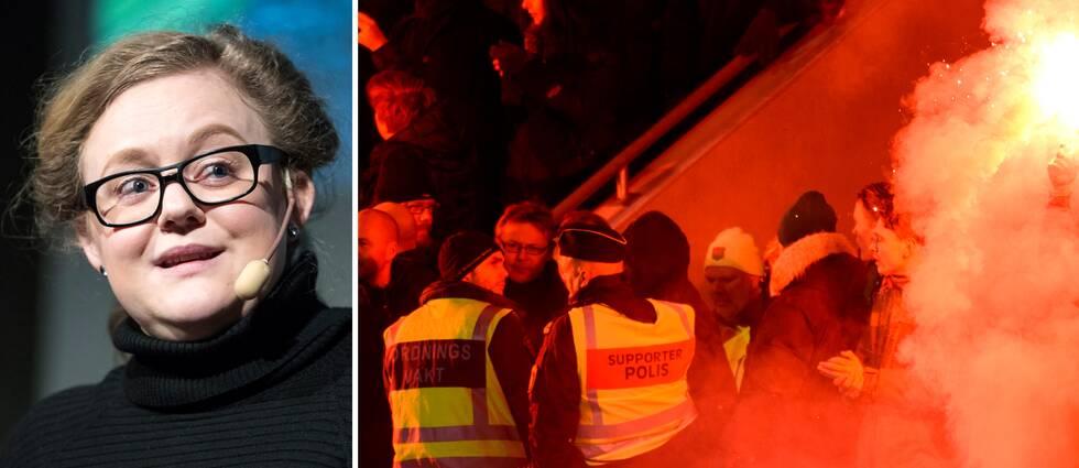 """Sofia Bohlin, ordförande i Svenska Fotbollssupporterunionen, är oroliga för att supporterkulturen i Sverige ska förändras till det sämre. """"Alla delar samma oro"""", säger hon till SVT Sport."""
