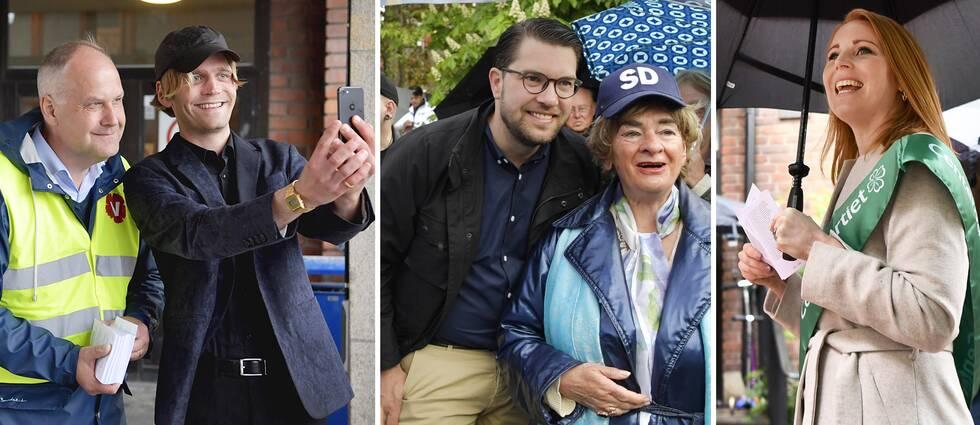 Vänsterpartiets Jonas Sjöstedt, Sverigedemokraternas Jimmie Åkesson och Centerpartiets Annie Lööf på EU-valdagen