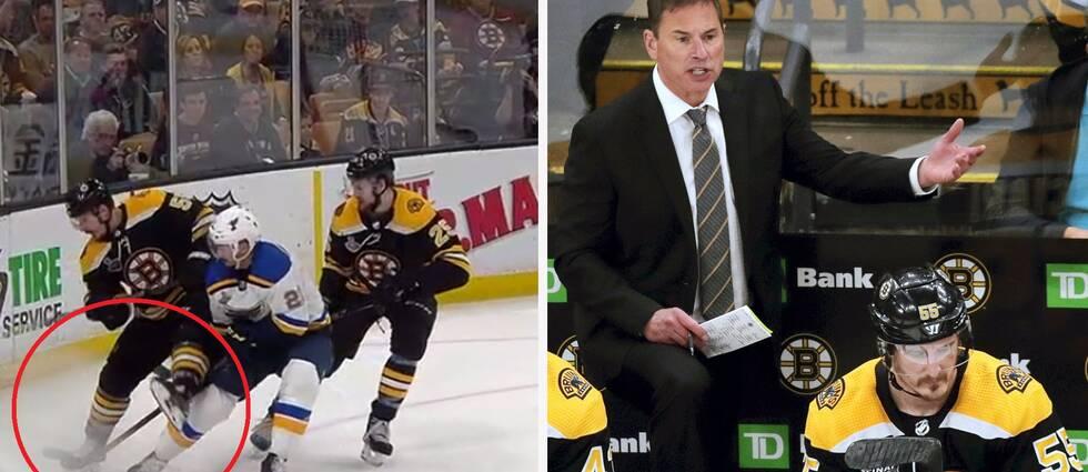 En misstänkt tripping blev det stora samtalsämnet när St Louis besegrade Boston med 2-1 i den femte Stanley Cup-finalserien.
