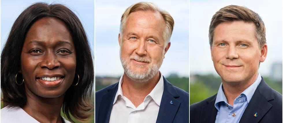 Bild på Liberalernas kandidater till partiledare, Nyamko Sabuni, Johan Pehrson och Erik Ullenhag.