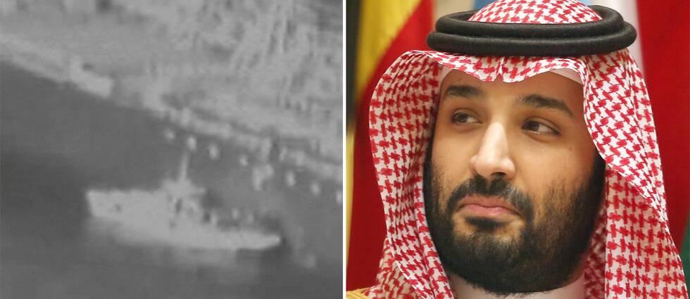 Bild från videon som sägs visa attacken och Mohammed bin Salman.
