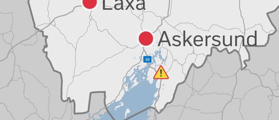 Karta över södra Örebro län med platsen för lastbilsstoppet markerat