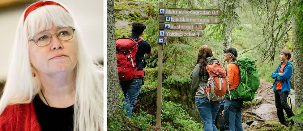 Irén Lejegren (S) till vänster. Till häger en bild där fyra vandrare synar en skylt i skogen på Bergslagsleden.