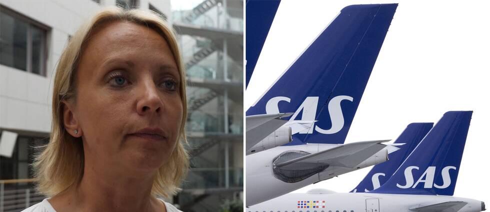 SAS-chefen Karin Nyman och SAS-plan.