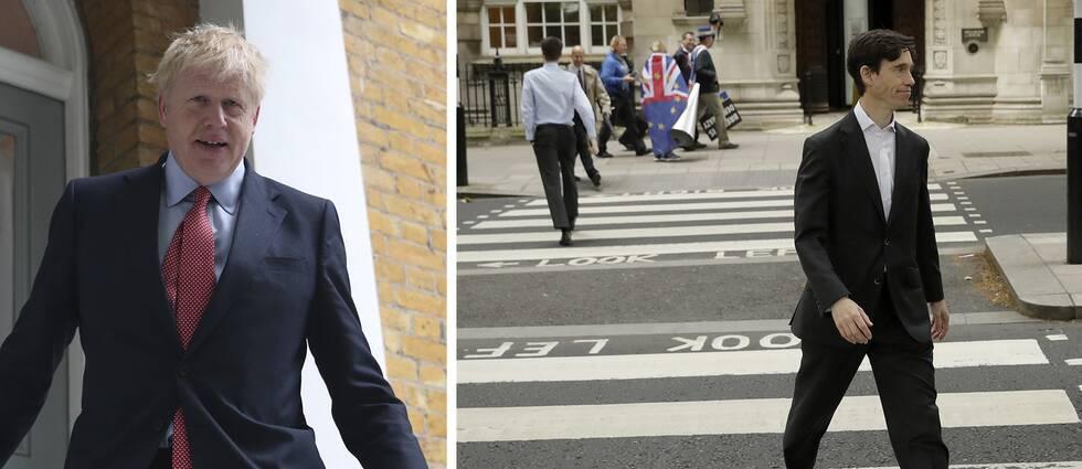 Boris Johnson lämnar sitt hem i London. Rory Stewart går över ett övergångsställe i London.