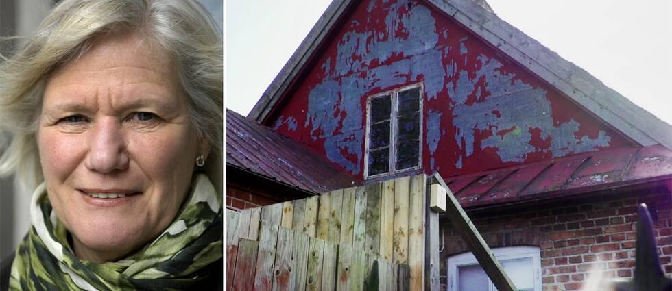 Ann-Marie Begler och huset där barnen bodde.