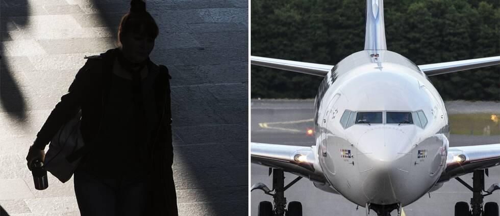 Siluett av en kvinna och ett flygplan.