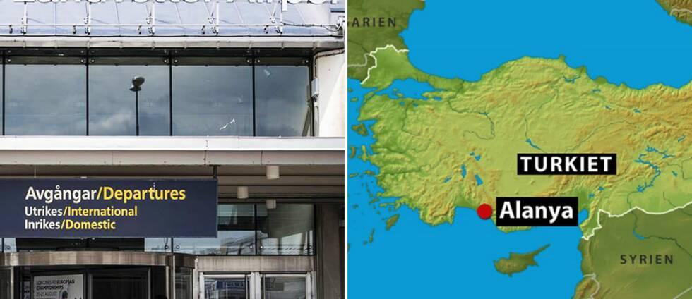 Landvetter flygplats och kartbild över Alanya i Turkiet