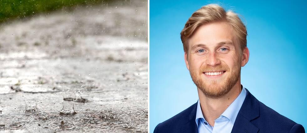 Regn på plattgång. SVT:s meteorolog Mikael Sjöstrand.