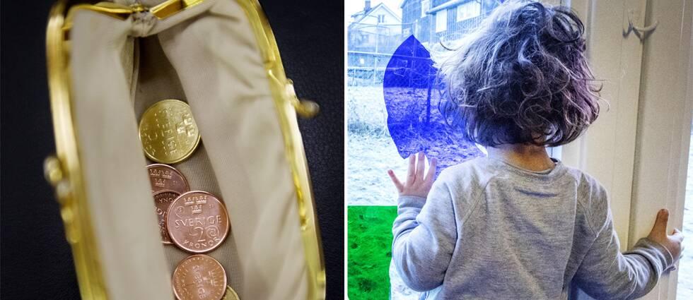 Plånbok med pengar och ett barn.