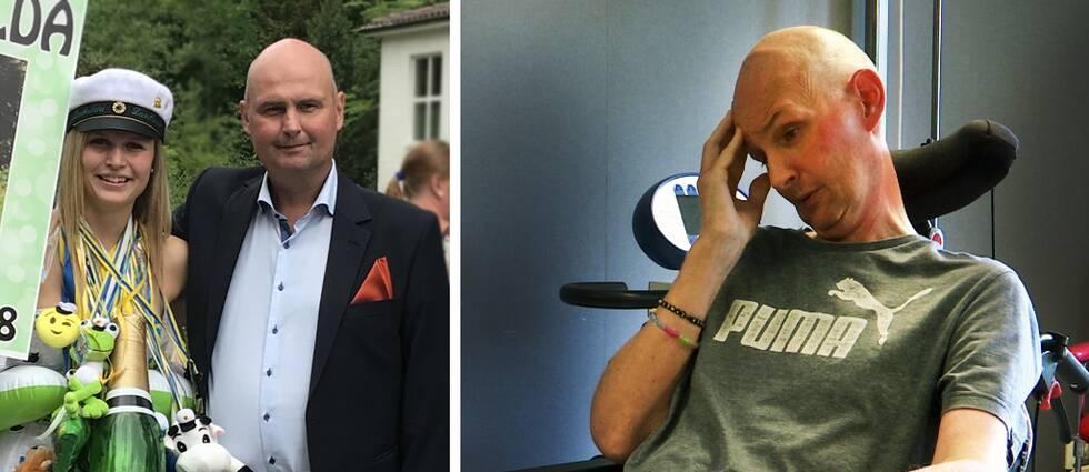 Två bilder på samma man före och efter TBE. Han har minskat kraftigt i vikt.