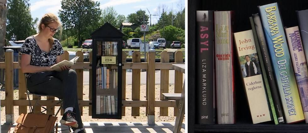 Kvinna läser bok intill en svart bokhylla. Böcker i närbild.