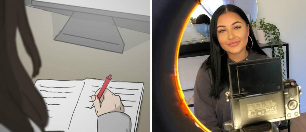 Illustrerad bild på flicka med dagbok bredvid en bild på Melinda framför sin kamera.