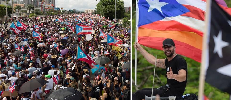 Hundratusentals demonstrerar i San Juan under måndagen. Även världsartisten Ricky Martin deltog.
