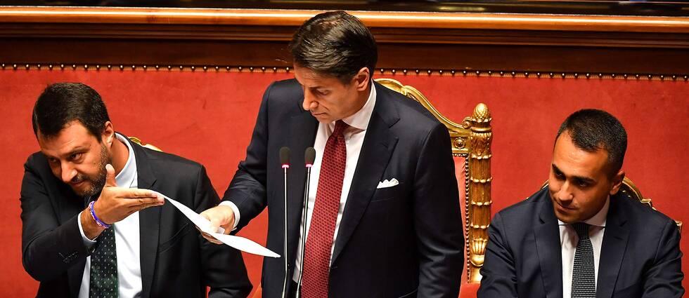 Premiärminister Giuseppe Conte talar inför senaten