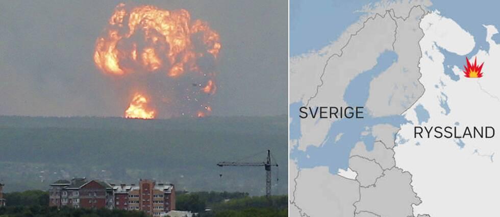 Explosionen i militäranläggningen var enorm och syntes på flera mil