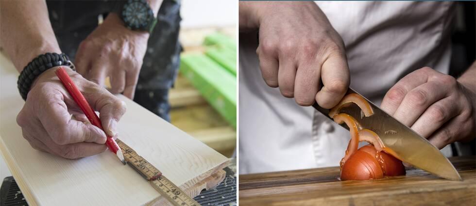 En tvådelad bild med en snickare och en kock.